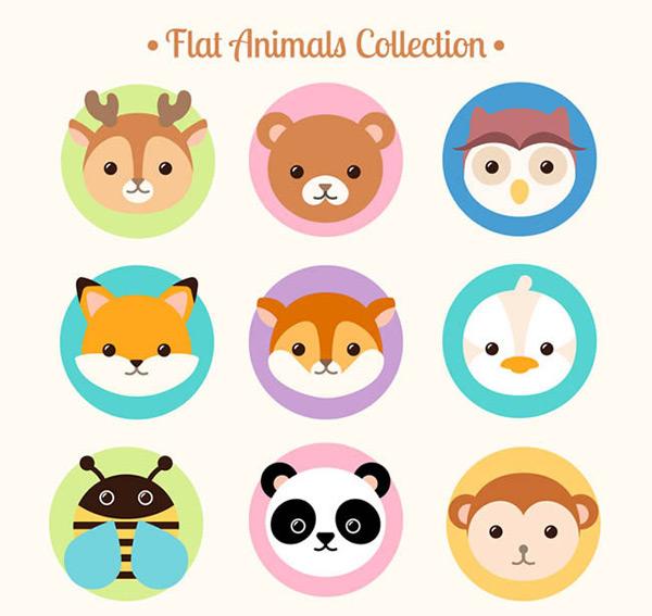 可爱森林动物头像矢量图下载
