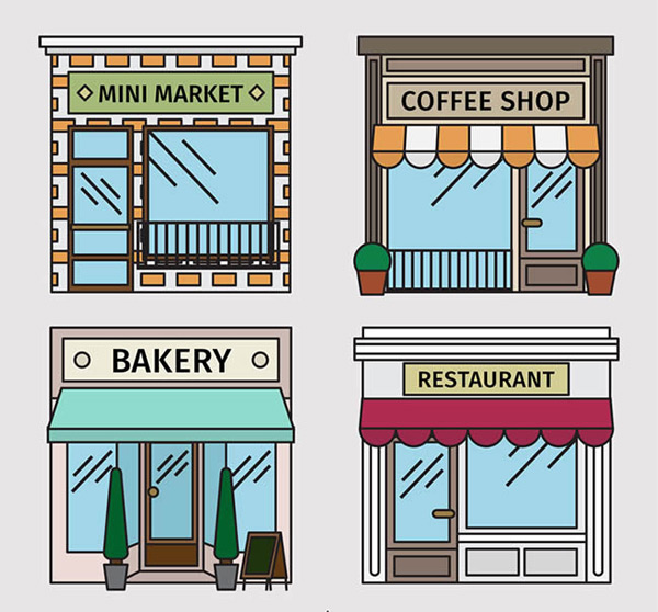 创意店铺建筑设计矢量图下载