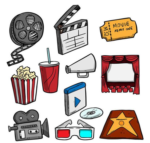 0 点 关键词: 彩绘电影元素矢量图下载,胶卷,场记板,电影票,可乐,爆