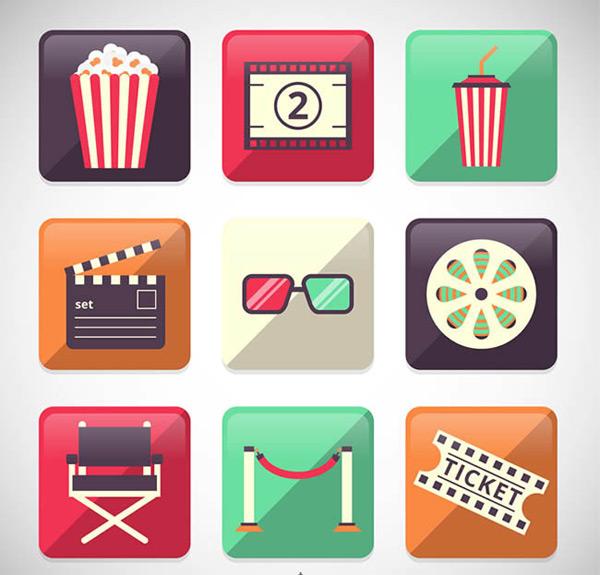0 点 关键词: 方形电影元素图标矢量图下载,爆米花,可乐,场记板,眼镜