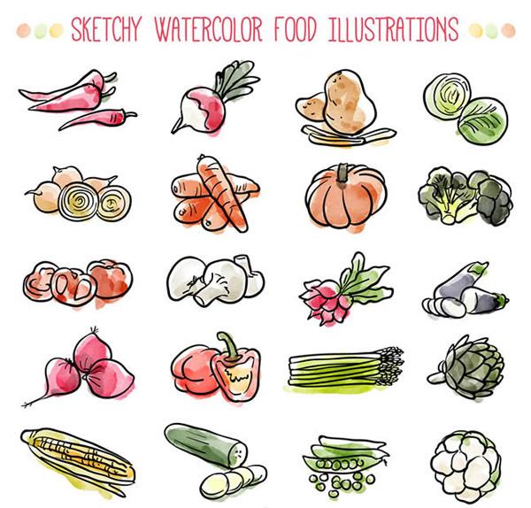 水彩绘蔬菜
