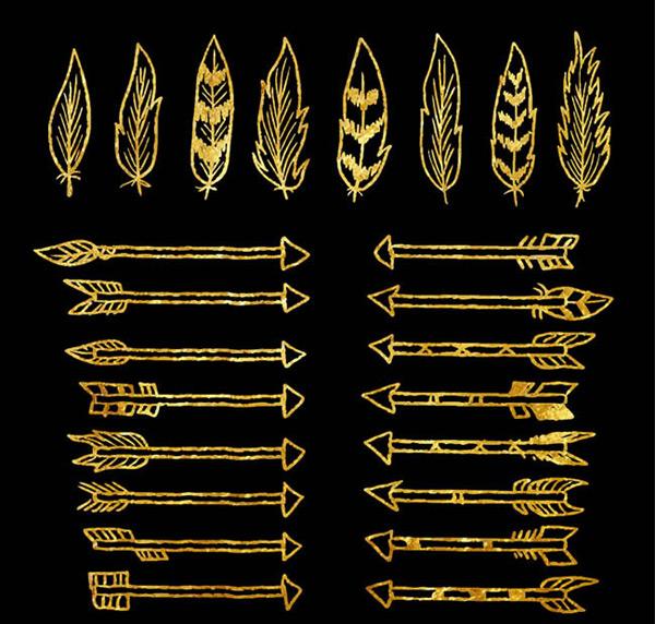 素材分类: 矢量箭头图形所需点数: 0 点 关键词: 24款金色羽毛和箭