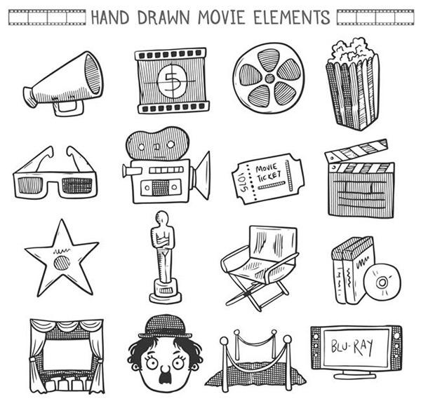 素材分类: 矢量各式图标所需点数: 0 点 关键词: 创意手绘电影元素矢