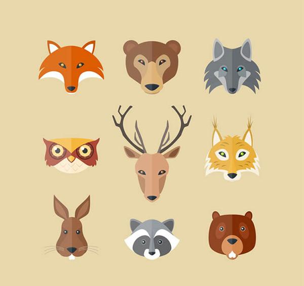 狐狸,熊,狼,猫头鹰,鹿,兔子,田鼠,浣熊,棕熊,野生动物,动物,头像,矢量