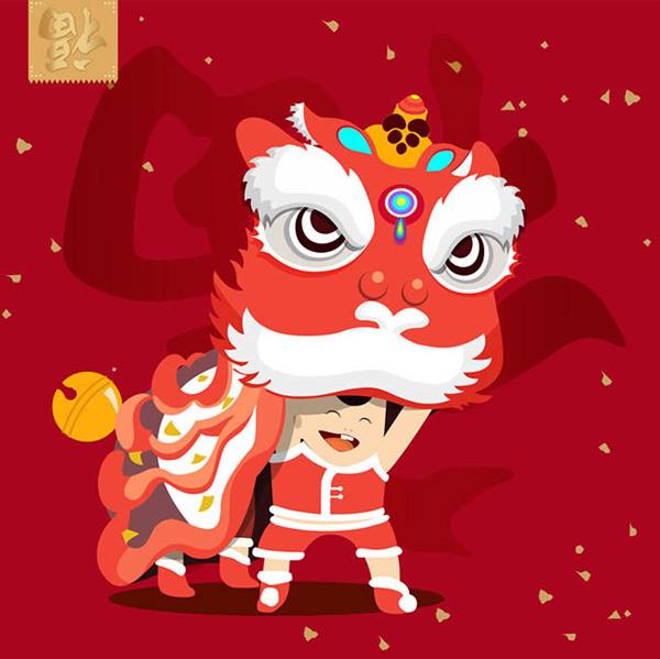 喜庆,节日,过年,舞狮子,卡通,春节,新年,矢量图,ai格式 下载文件特别图片