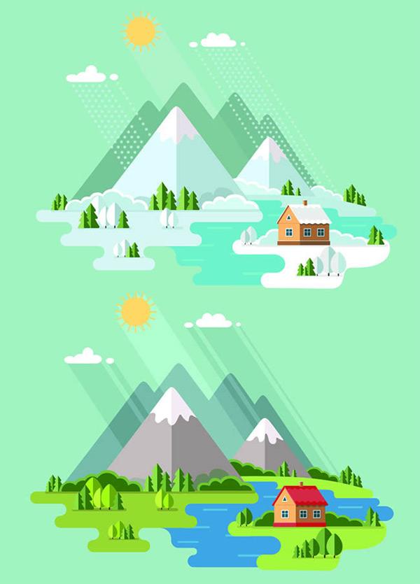 点 关键词: 扁平化美丽的大自然矢量图下载,扁平化,美丽,大自然,风景
