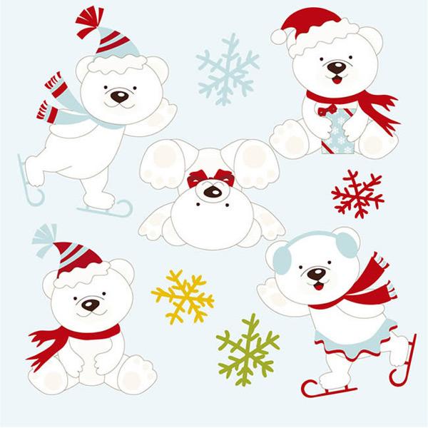 0 点 关键词: 玩耍北极熊矢量图下载,动物,雪花,北极熊,冬季,矢量图
