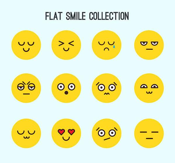 圆脸表情矢量图片
