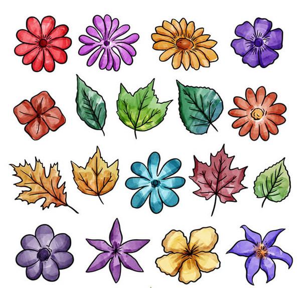 0 点 关键词: 彩绘花朵和叶子矢量图下载,树叶,彩绘,花朵,叶子,矢量