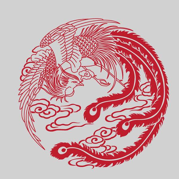 凤凰剪纸图案_素材中国sccnn.com