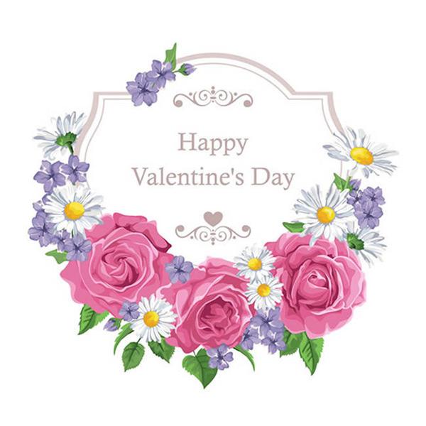 矢量情人节所需点数: 0 点 关键词: 情人节鲜花装饰花环矢量图下载