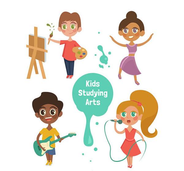 创意艺术儿童矢量图下载,人物,艺术,儿童,绘画,舞蹈,演奏,唱歌,矢量