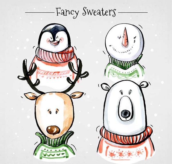 0 点 关键词: 可爱圣诞节角色矢量图下载,企鹅,雪人,北极熊,驯鹿