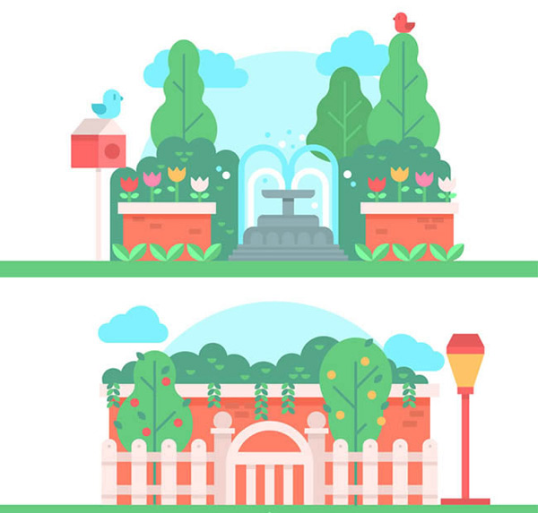 素材分类: 矢量建筑景观所需点数: 0 点 关键词: 美丽公园风景矢量图