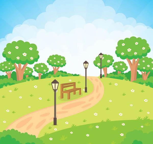 素材分类: 矢量自然风景所需点数: 0 点 关键词: 夏季公园风景矢量图