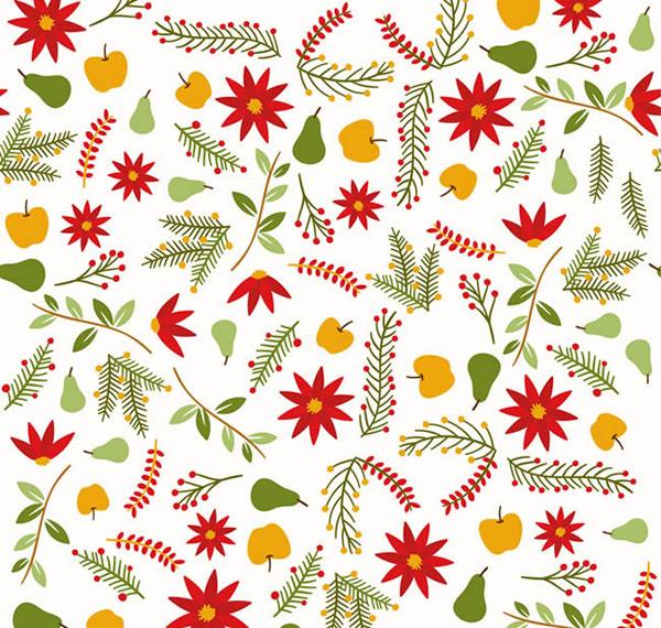 彩色花卉和水果无缝背景矢量图下载