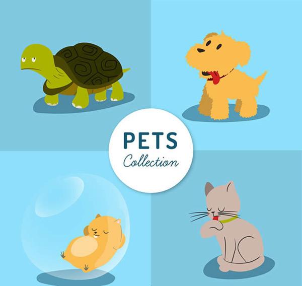 0 点 关键词: 可爱宠物设计矢量图下载,宠物,动物,乌龟,狗,猫,仓鼠