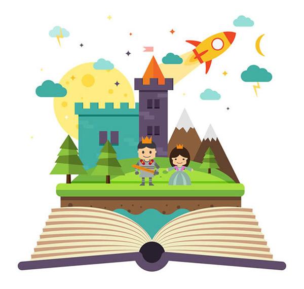 火箭,王子,公主,雪山,树木,月亮,云朵,城堡,童话,书本,立体书,矢量图