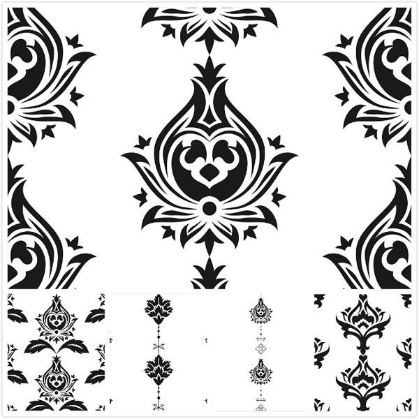 单色花纹拼接矢量素材,单色花纹,欧式花纹,花纹边框,二方连续花纹