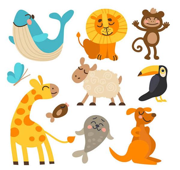 动物矢量图下载,鲸鱼,狮子