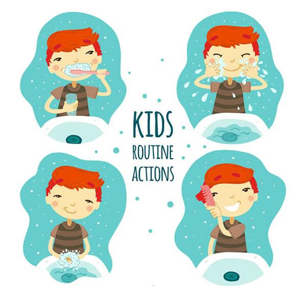 0 点 关键词: 卡通男孩洗漱动作矢量图下载,刷牙,洗脸,洗手,梳头
