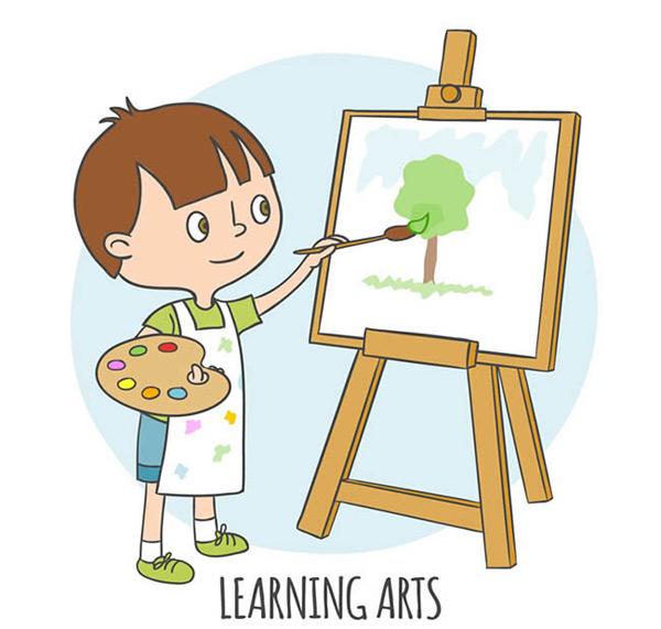 卡通绘画的男孩_素材中国sccnn.com