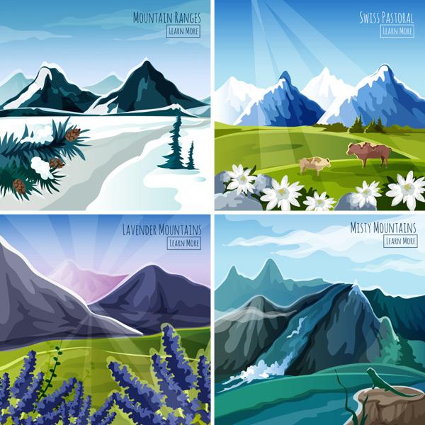0 点 关键词: 户外风景插画免费下载,插画,春夏秋冬,大山,风景,户外