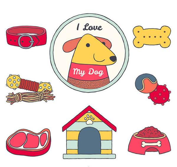 0 点 关键词: 创意宠物狗元素矢量图下载,项圈,狗,饼干,玩具,牛排
