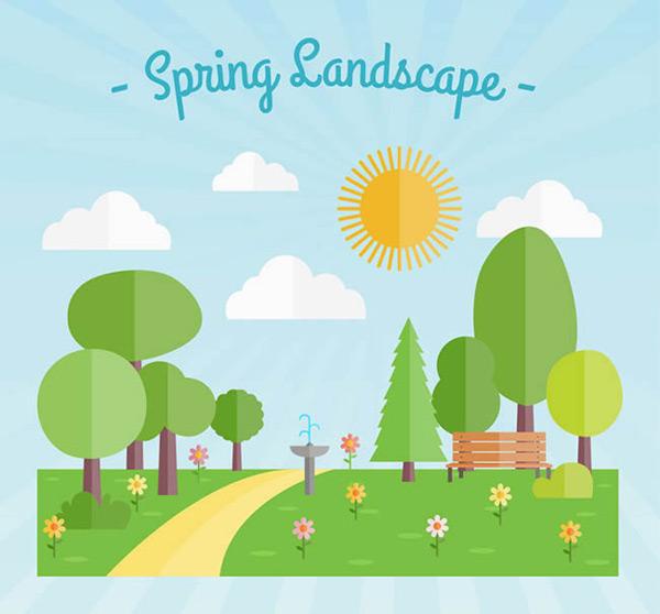 矢量自然风景所需点数: 0 点 关键词: 扁平化春季风景矢量图下载,树木