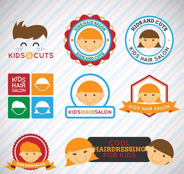 儿童理发店标签