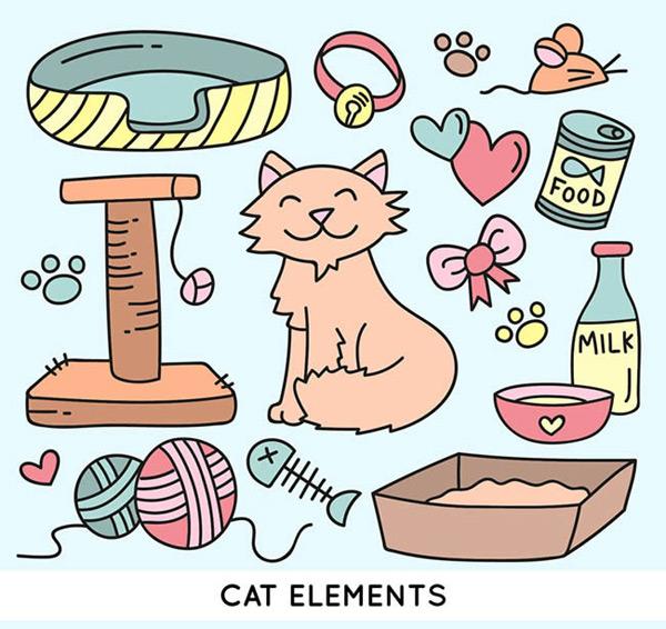 0 点 关键词: 猫咪与宠物用品矢量图下载,猫咪,宠物,项圈,脚印,老鼠