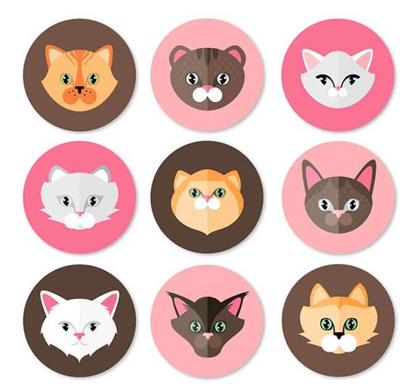 圆形猫咪头像矢量图下载,猫,宠物,动物,圆形,扁平化,头像,矢量图,ai