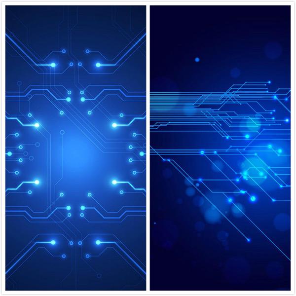 蓝色电路板背景矢量素材
