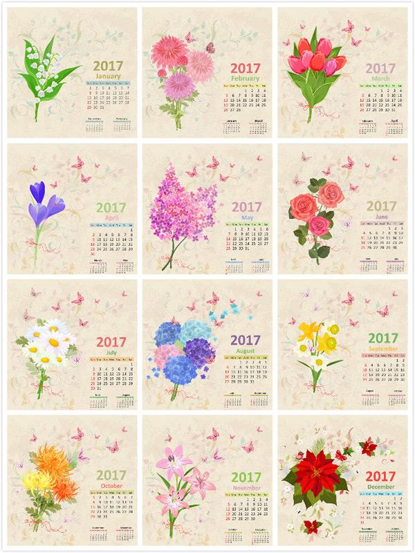 年历日历矢量所需点数: 0 点 关键词: 复古手绘花朵图案2017年月历