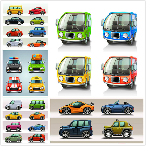 汽车插画,卡通车模,矢量警车,矢量休旅车,矢量出租车,汽车正面素材,卡