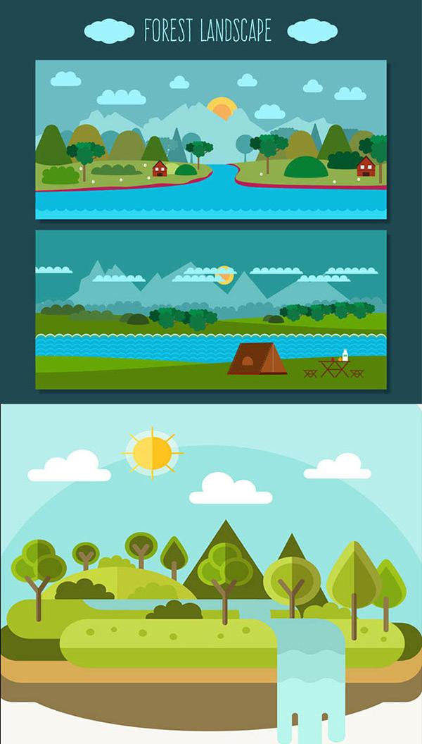 扁平化树林与瀑布风景矢量图下载