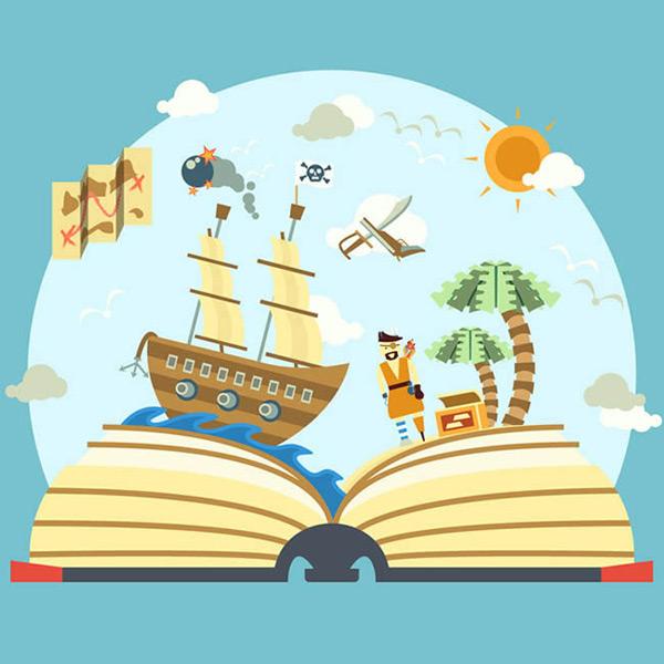 点 关键词: 书中的海盗世界插画矢量图下载,海盗船,炸弹,藏宝图,岛屿