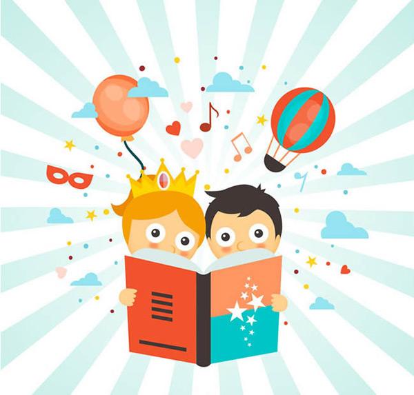 卡通看书的孩子_素材中国sccnn.com