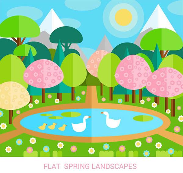 0 点 关键词: 春季池塘风景矢量图下载,太阳,树木,花卉,鹅,池塘,雪山
