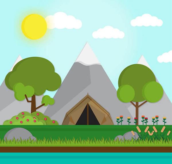 帐篷风景矢量_素材中国sccnn.com
