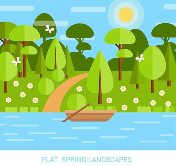 0 点 关键词: 扁平化春天小河边风景矢量图下载,蝴蝶,花卉,河流,船