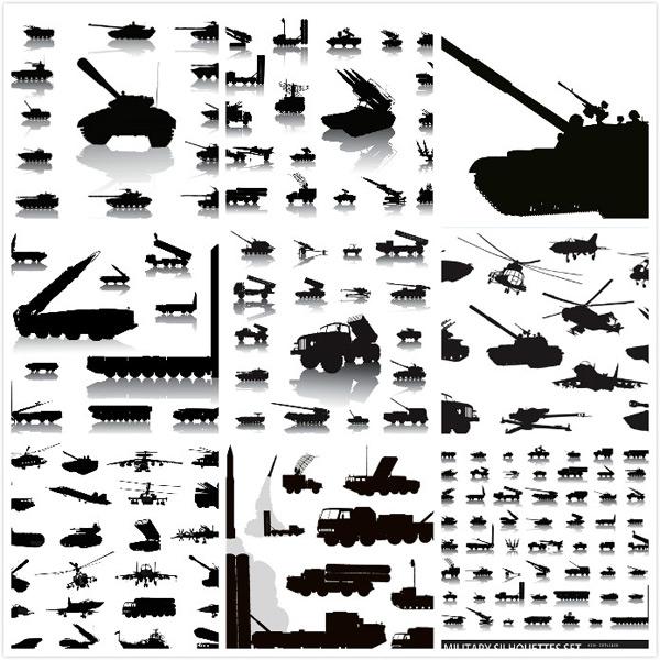 军事设备剪影矢量素材,矢量军事机械,火箭炮,雷达车,导弹车,坦克,直升机,战斗机,军事设备剪影,EPS