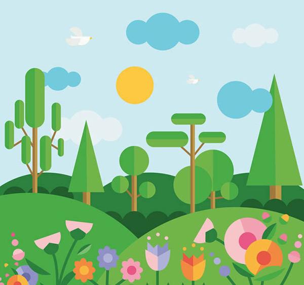 0 点 关键词: 扁平化春季山间风景矢量图下载,云朵,鸽子,花卉,树木