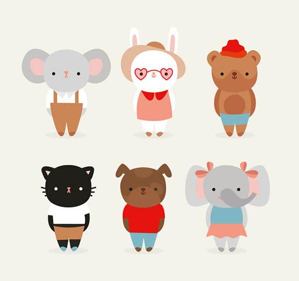 0 点 关键词: 可爱着装动物矢量图下载,大象,兔子,熊,猫,狗,着装