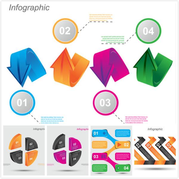 创意设计,信息图表,流程图表,炫彩,缤纷,多彩,五彩,立体,质感,箭头,饼