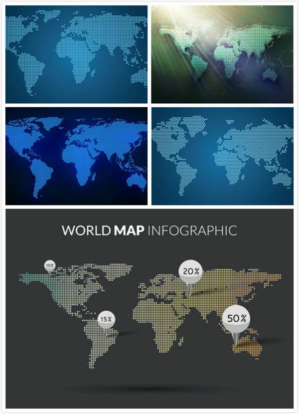素材分类: 矢量地图所需点数: 0 点 关键词: 点状元素世界地图创意