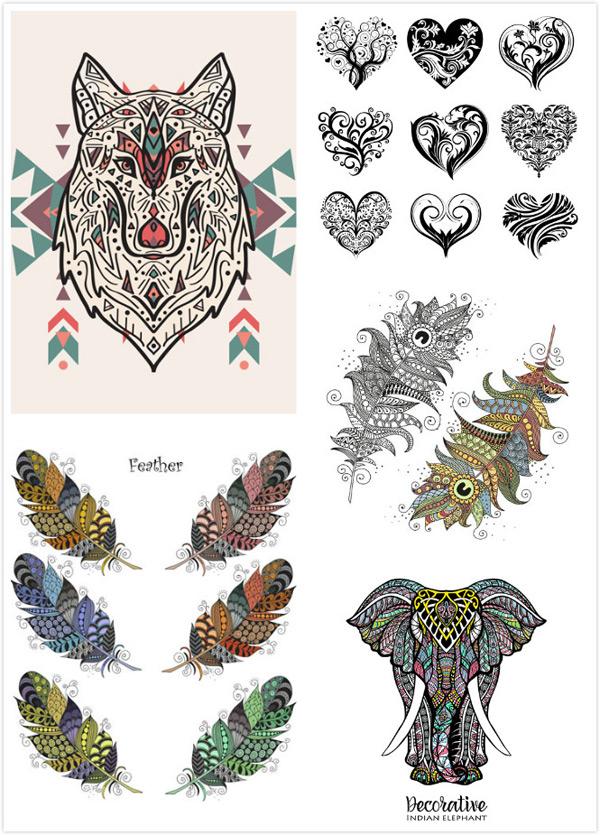 纹身,刺青,图案,树叶,树枝,花纹,黑白,羽毛,心形,桃心,狼头,大象,动物