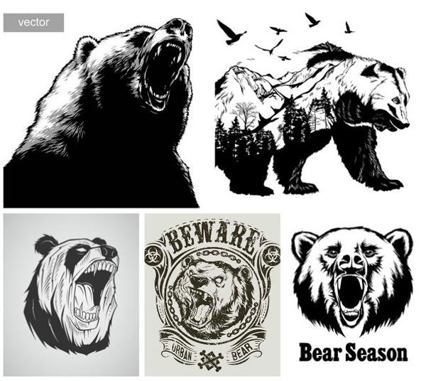 矢量素材,矢量图,设计素材,创意设计,图案,熊头,黑白,凶狠,猛兽,动物
