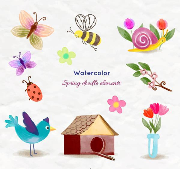 素材分类: 矢量卡通动物所需点数: 0 点 关键词: 手绘春季动物花卉