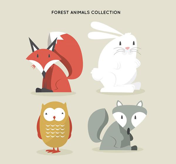 呆萌森林动物矢量